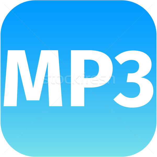 Blauw mp3 muziek icon downloaden icoon web Stockfoto © jarin13