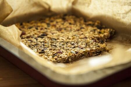 Közelkép házi készítésű köteg müzli ízletes étel Stock fotó © jarin13