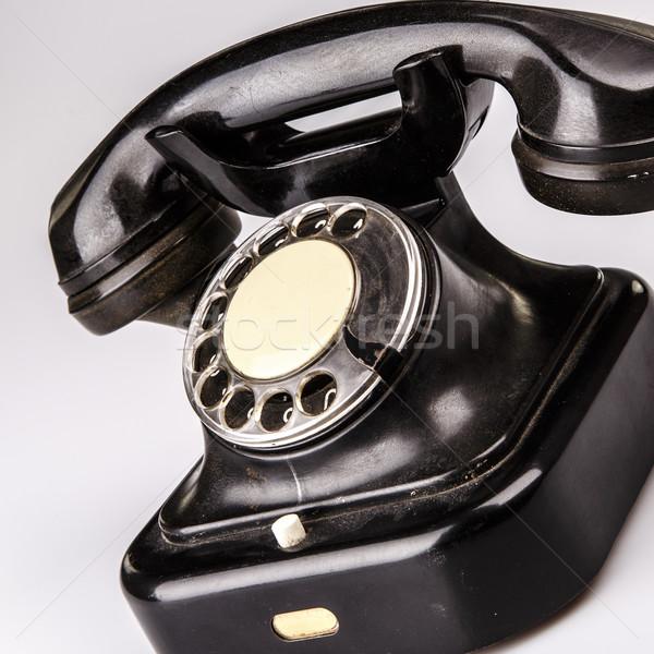 Сток-фото: старые · черный · телефон · пыли · белый · изолированный