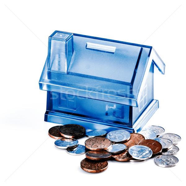 Kék ház pénz doboz fehér érmék Stock fotó © jarin13