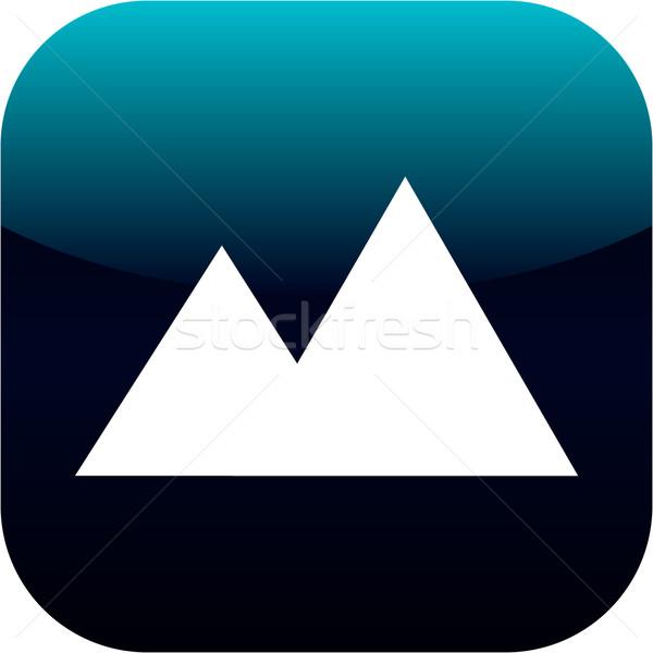 Górskich symbol ikona przycisk niebieski charakter Zdjęcia stock © jarin13