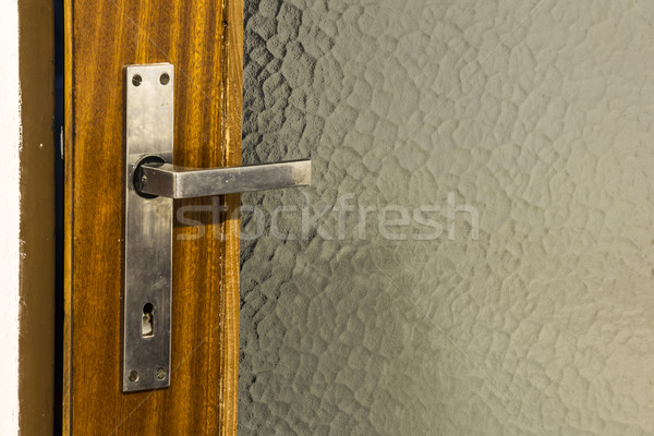 ストックフォト: 銀 · ドア · ハンドル · 古い · ドア · 木材