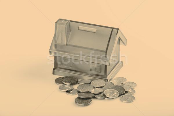 Niebieski domu ceny polu biały monet Zdjęcia stock © jarin13