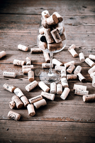 ヴィンテージ コルク ガラス ワインボトル フローリング 木材 ストックフォト © jarin13