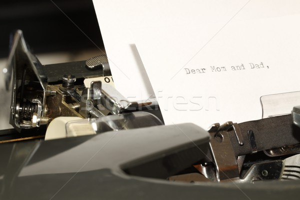 Text Dear Mom and Dad typed on old typewriter Stock photo © jarin13