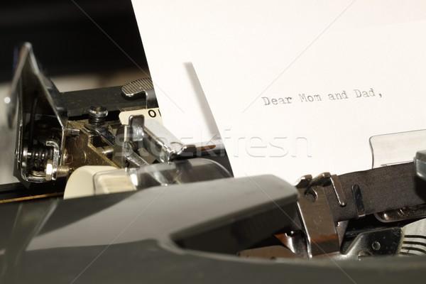 Stock fotó: Szöveg · anya · apa · öreg · írógép · levél