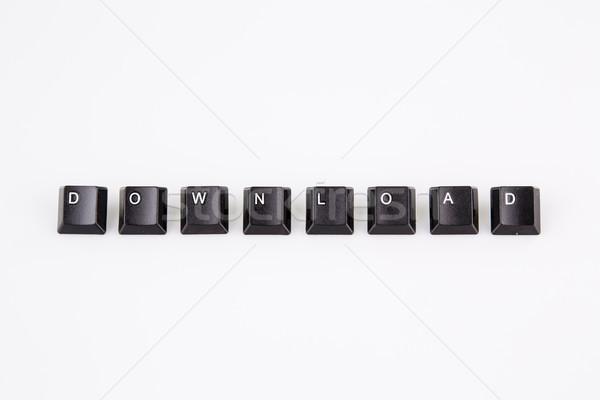 Stockfoto: Downloaden · woord · geschreven · zwarte · computer · knoppen