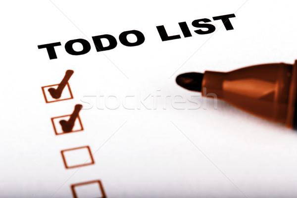 リストを行うには マーカー チェック 孤立した 白 にログイン ストックフォト © jarin13