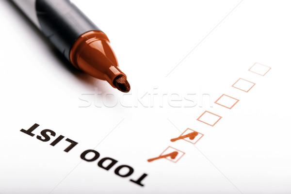 Para fazer a lista marcador verificar isolado branco caneta Foto stock © jarin13