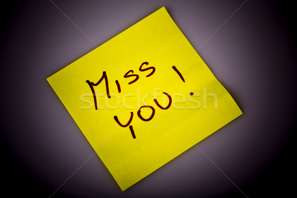 Yellow note paper miss you message Stock photo © jarin13