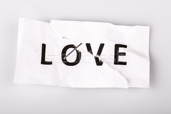 'Love' word written on torn and stapled paper Stock photo © jarin13