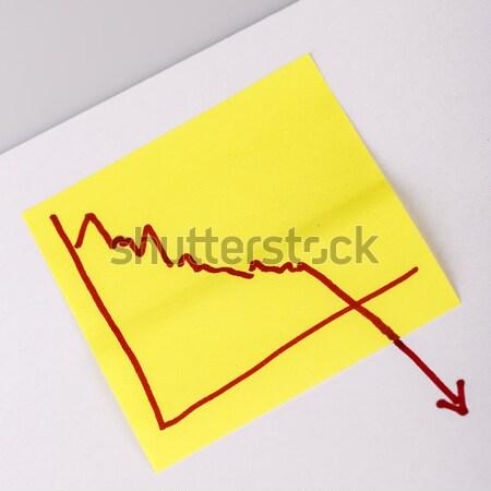 Levélpapír pénzügy üzleti grafikon lefelé veszteség közelkép Stock fotó © jarin13