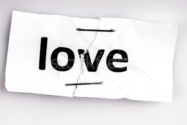 Liefde woord geschreven gescheurd papier witte Stockfoto © jarin13
