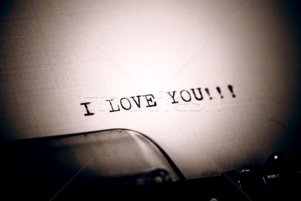 Amour un message vintage machine à écrire belle bureau Photo stock © jarin13