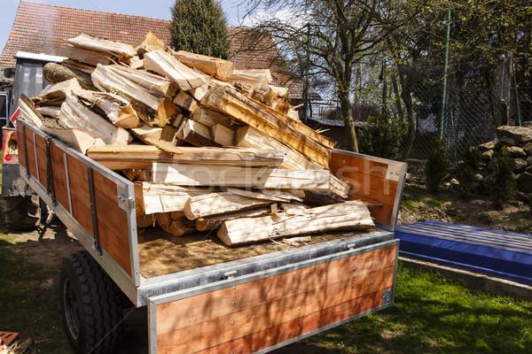 Trator de volta madeira fogo floresta construção Foto stock © jarin13