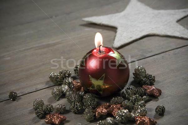 Natal decoração belo vela comida Foto stock © jarin13