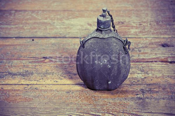 Eski ordu şişe bağbozumu ahşap zemin su Stok fotoğraf © jarin13
