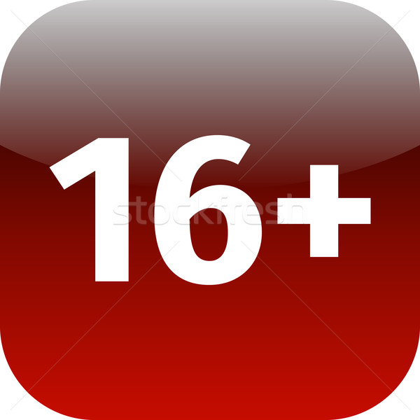 Restriction on age 16+ - red and white icon Stock photo © jarin13
