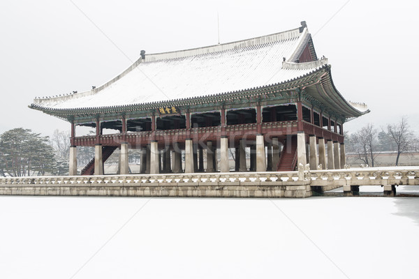 beautiful gyeongbok palace in soul, south korea - under snow, winter Stock photo © jarin13