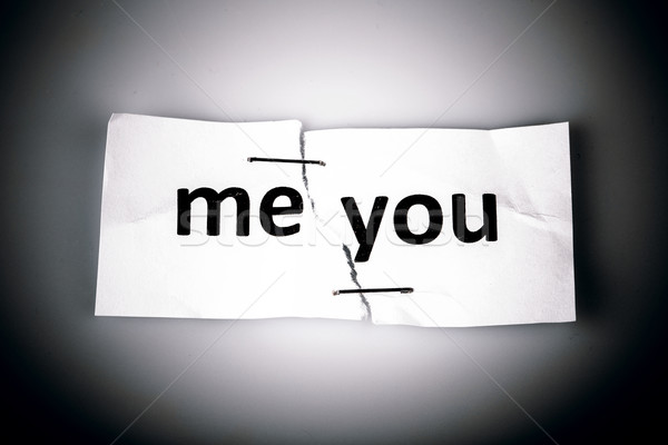 'ME YOU' words written on torn and stapled paper Stock photo © jarin13