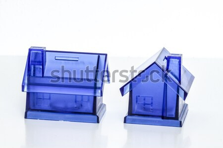 Azul dinheiro caixas casa caixa branco Foto stock © jarin13
