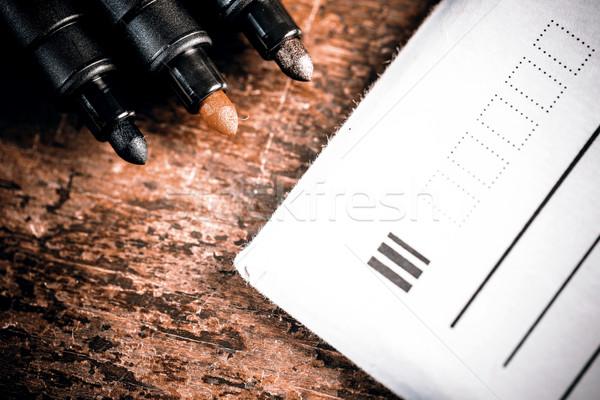 Fiche brief kantoor pen ontwerp achtergrond Stockfoto © jarin13