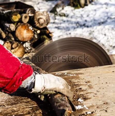 Mann arbeiten Rundschreiben sah Klinge alten Stock foto © jarin13