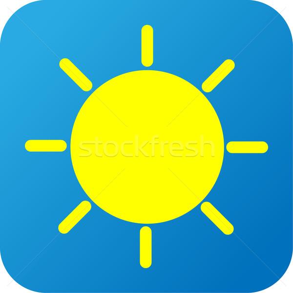 Hava durumu web simgesi güneş mavi sarı beyaz Stok fotoğraf © jarin13