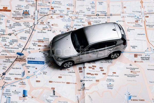 Viajar pequeno carro Seul cidade mapa Foto stock © jarin13