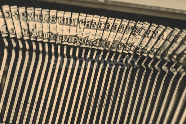 Stock fotó: Közelkép · öreg · írógép · levelek · gyönyörű · háttér