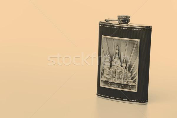Foto stock: Inoxidável · quadril · isolado · branco · garrafa