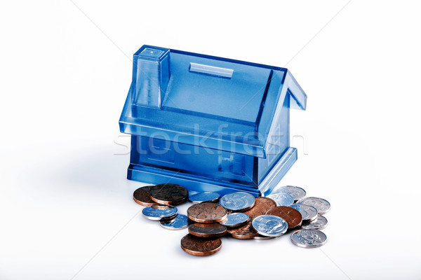 Blue House Money Box on White Background Stock photo © jarin13