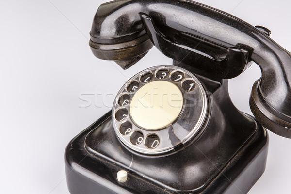 Starych czarny telefonu pyłu biały odizolowany Zdjęcia stock © jarin13
