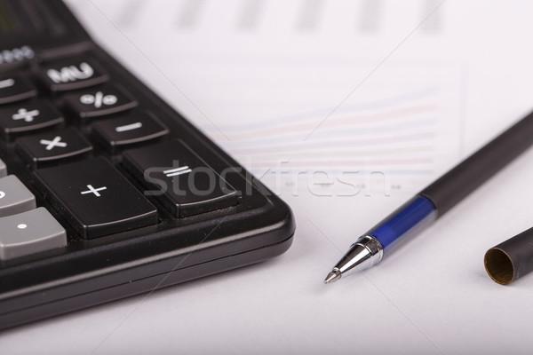 Iş hesap makinesi kalem beyaz kâğıt Stok fotoğraf © jarin13