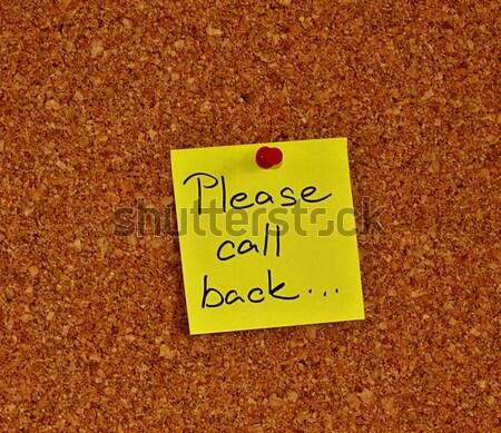 Quadro de avisos nota pegajosa cortiça um amarelo texto Foto stock © jarin13