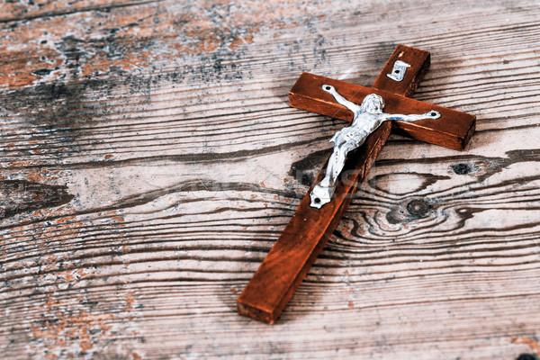 Güzel eski çapraz İsa ahşap Stok fotoğraf © jarin13