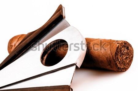 Sigaar witte duur rook retro luxe Stockfoto © jarin13