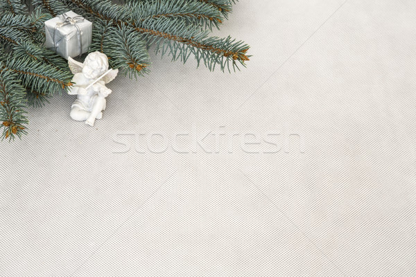 Natal decoração ramo caixa anjo árvore Foto stock © jarin13