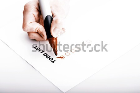 To do list vrouw hand fiche controleren geïsoleerd Stockfoto © jarin13