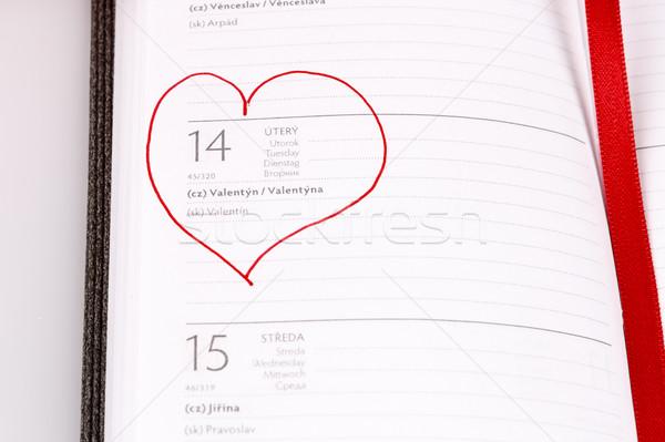 valentine day in calendar or diary Stock photo © jarin13