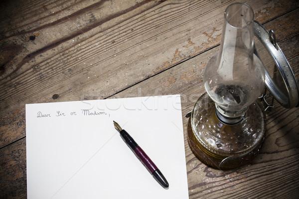 Vecchio stile lettera pen lampada business ufficio Foto d'archivio © jarin13
