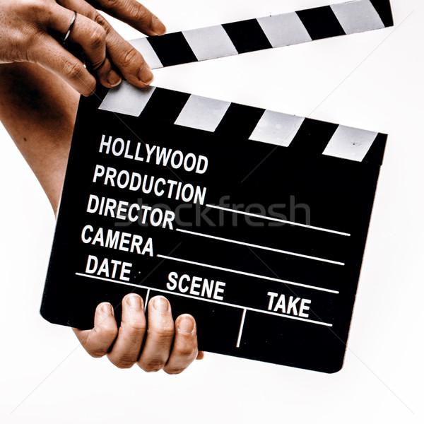 Stockfoto: Film · handen · witte · film · hout · televisie