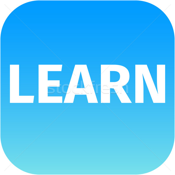 Text Learn blue icon Stock photo © jarin13