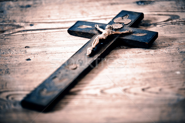 Old cross with jesus on the old floor Stock photo © jarin13