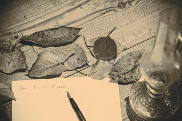 Pasado de moda carta pluma oficina madera luz Foto stock © jarin13