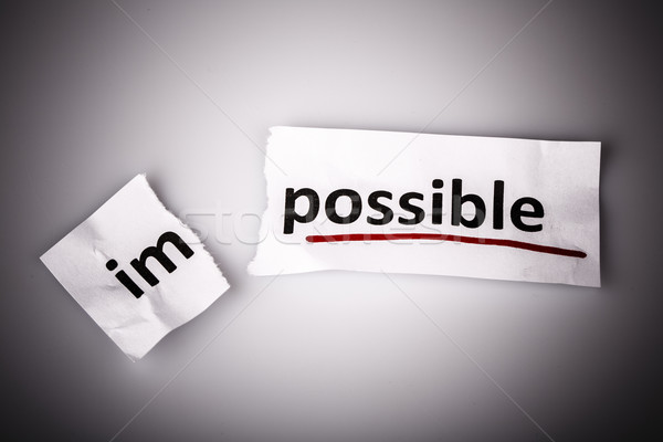 Photo stock: Mot · impossible · possible · papier · déchiré · blanche · affaires