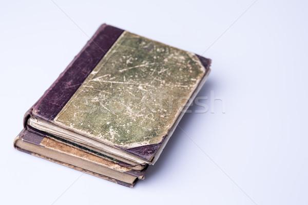 Foto stock: Belo · velho · dois · livros · branco