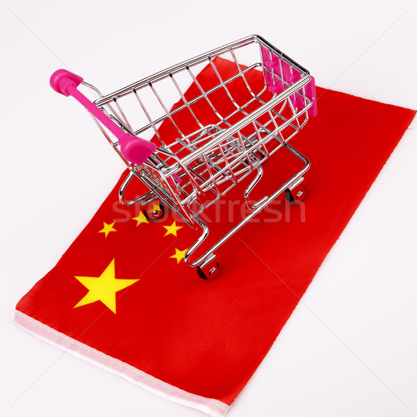 Rosa carrinho de compras China bandeira vermelho armazenar Foto stock © jarin13