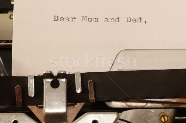 Texto mamãe pai velho máquina de escrever carta Foto stock © jarin13
