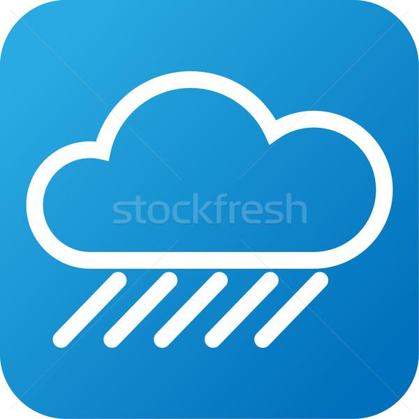 Hava durumu web simgesi bulut yağmur mavi beyaz Stok fotoğraf © jarin13